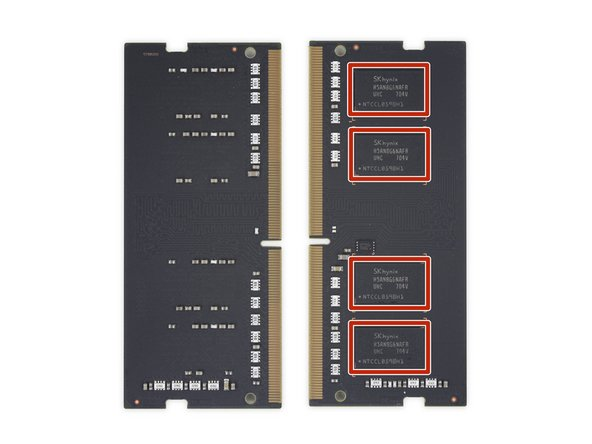 Image 2/2: SK Hynix [https://www.skhynix.com/products.view.do?vseq=1925&cseq=73|H5AN8G6NAFR|new_window=true] 8 Gb DDR4 SDRAM (4 × 8 Gb = 4 GB per DIMM, 8 GB total)