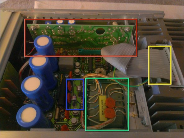 In the second image, I highlight a few parts. The items in the blue box are some odd can diodes, on top in the red box is a fully replaceable board on a standoff, the seafoam green is the main power transformer (17 taps) and hiding under the ribbon at the yellow box are the pass transistors.