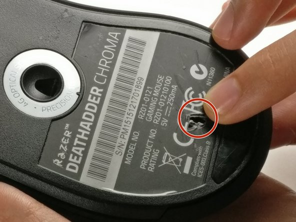 Use your fingers to identify the location of the screw under the bottom label.