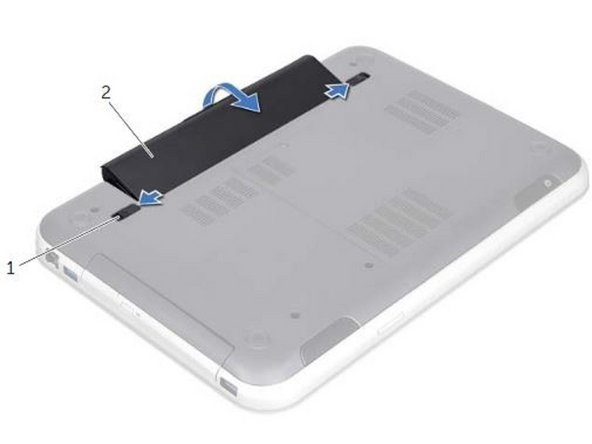 Align the tabs on the NEW battery with the slots on the battery bay and snap the battery until it clicks into place.