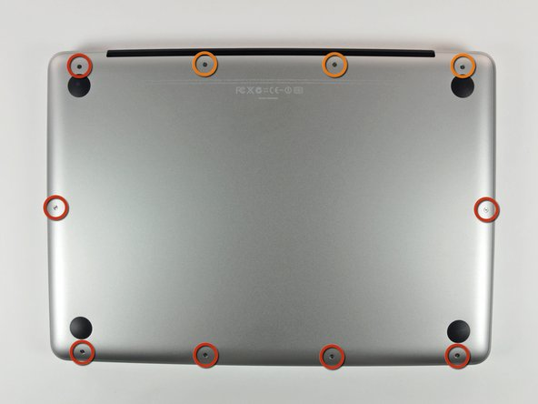 "Image 1/1: Remove the following 10 screws securing the lower case to the MacBook Pro 13"" Unibody:"