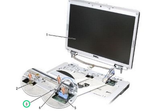 Loosen the captive grounding screw, then disconnect the display cable from the display cable connector on the system board.