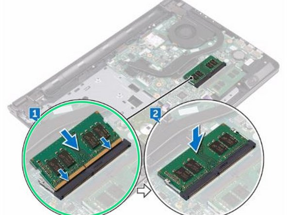 Align the notch on the NEW memory module with the tab on the memory-module slot and slide it firmly into the slot at an angle.