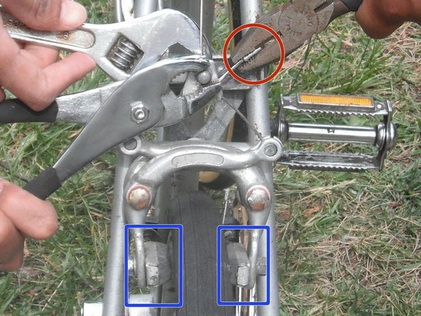 Now that the nut is loosened, pull the cable tighter or looser to adjust the resting state of the brake clamp.