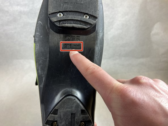Locate the boot size (in millimeters) on the bottom of the boot.