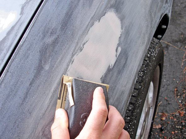 It is recommended that you apply several thinner layers of filler to deep dents and cracks to prevent having a porous finish.