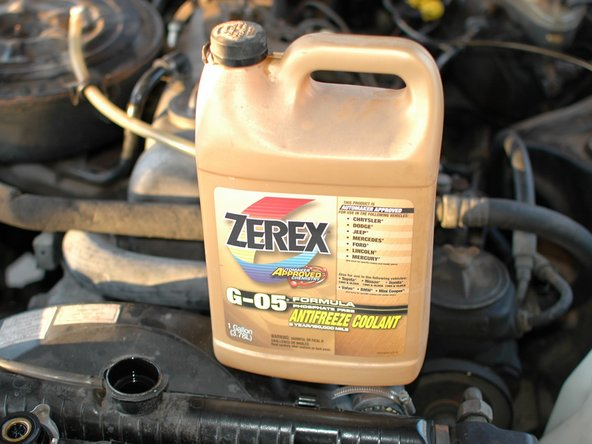 Image 1/1: If your coolant is low, top it off with a mix of about 50/50 distilled water to coolant. Only use a proper coolant for these cars, either the Genuine Mercedes coolant or one that is specified and formulated for the application.