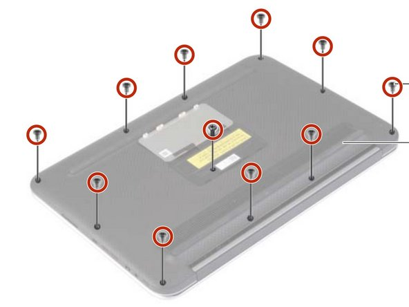 Use a Phillips screwdriver to remove the eleven screws securing the base cover.