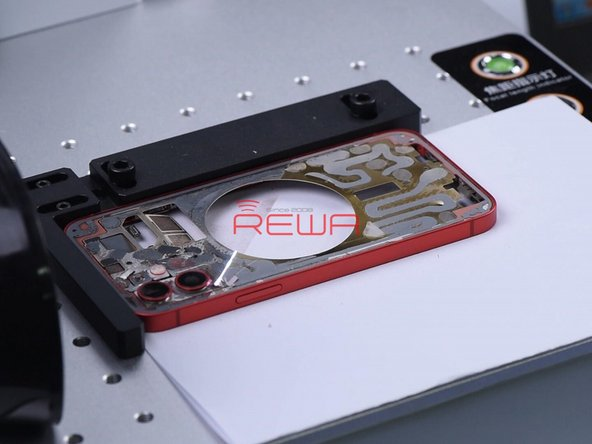 After the glass is completely removed, mark the back again to remove residual adhesive.
