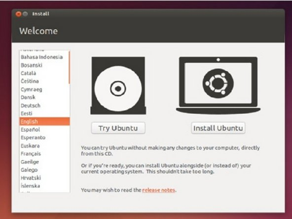 Wait for Ubuntu to load. When you get to this screen press install Ubuntu.