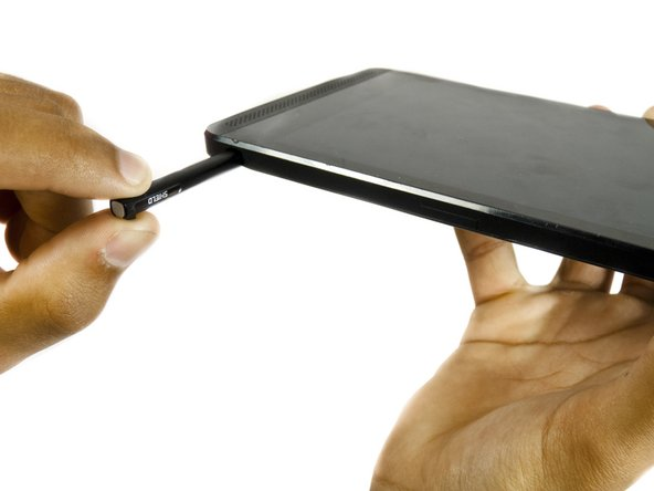 First, remove the stylus from your tablet.