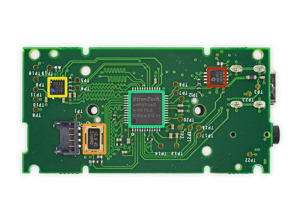 There are several ICs on the positional camera motherboard: