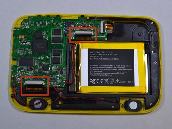 You will need to remove 2 ribbon cables, one that is connected to the touch screen (by the battery) and one that is connected to the yellow plastic (by the speaker).