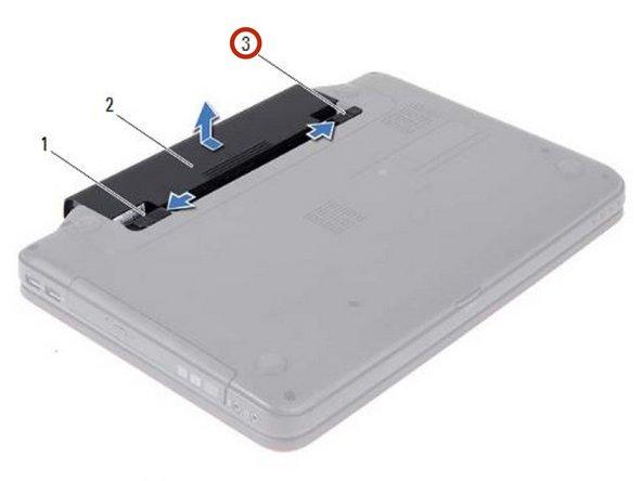 Deslice el pestillo de bloqueo de la batería a la posición de desbloqueo hasta que encaje en su lugar.