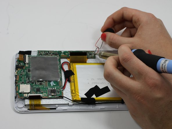 Install the new speaker by soldering the wires to the motherboard. For additional soldering instructions please view this page: How To Solder and Desolder Connections