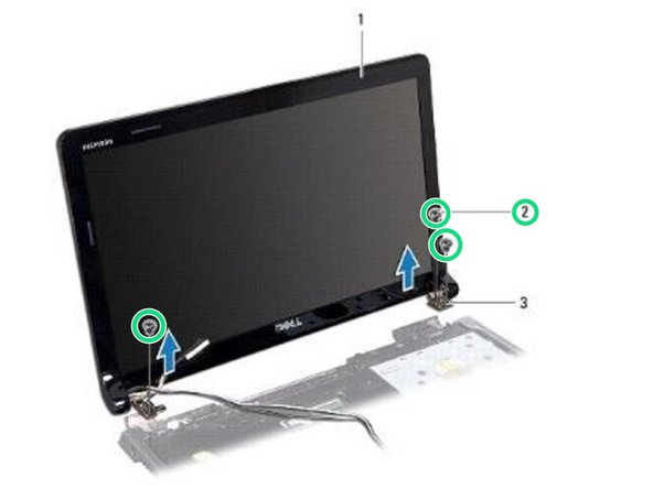 Hold the display assembly in place and remove the three screws that secure the display assembly to the computer base.