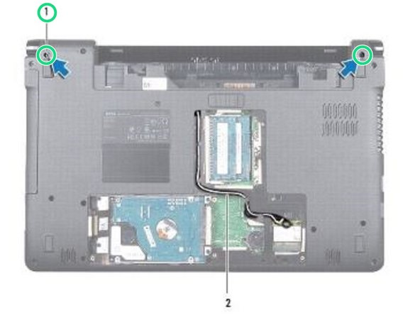 Remove the two screws on the bottom of the computer that secure the display assembly to the computer base.