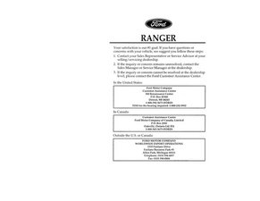 94 Ford Ranger Owner Manual