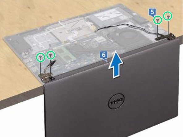 Remove the four screws (M2.5x5) that secure the display hinges to the palm rest and keyboard assembly.