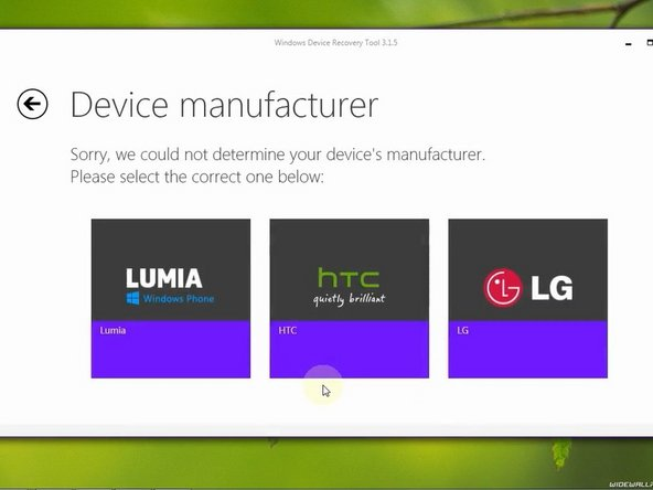 Select the device manufacturer.