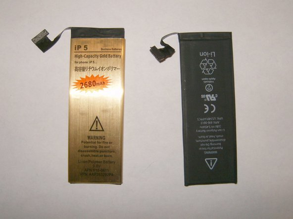 Here is the side-by-side of a Gold High Capacity and a standard run-of-the-mill iPhone 5 battery
