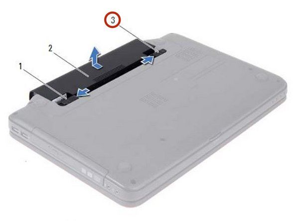 Slide the battery lock latch to the lock position.