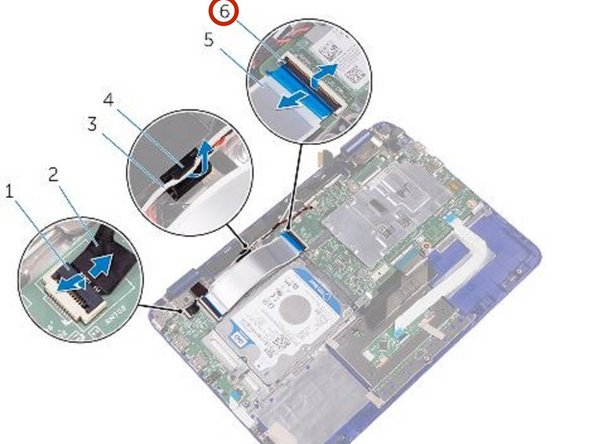 Slide the I/O-board cable into its slot on the system board and press down the latch to secure the cable.