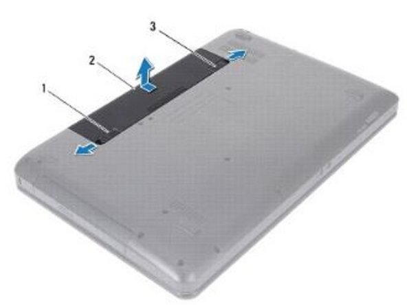Align the tabs on the NEW battery with the slots on the battery bay.