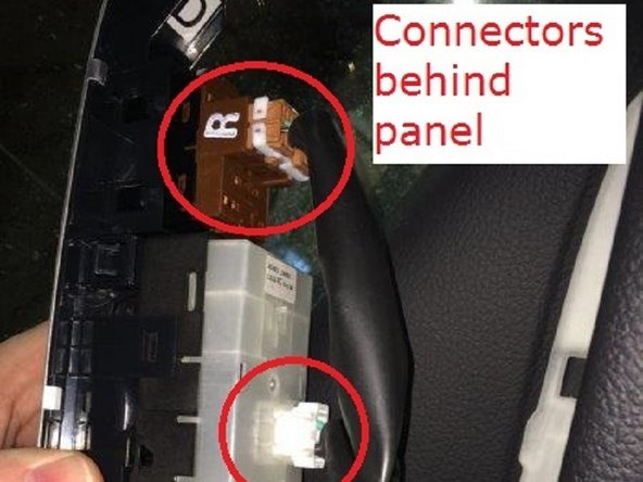 Pry out the door lock and window control panel. Disconnect all connectors on the back side.