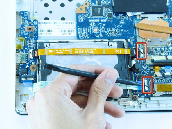 Image 1/3: Pull out the ribbons from the motherboard.