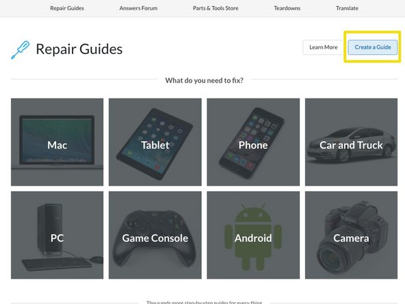 Didn't find your device? No problem. Just click Create a Guide from the Guide Homepage.
