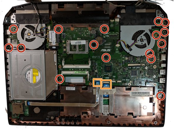 Remove the 5.4mm screws holding down the motherboard to the computer housing.
