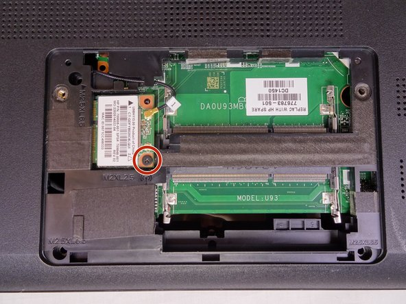 Remove the single 4mm Phillips #1 screw from the Wi-Fi card.