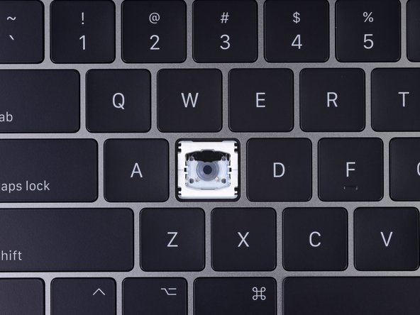 Image 2/3: The mechanical switch that detects the keystroke is a simpler rounder dome, not the fancy 'x' shape it once was.