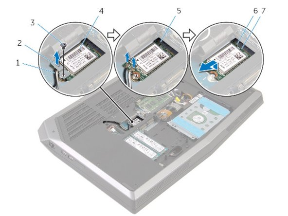 Slide the wireless card at an angle into the wireless-card slot.
