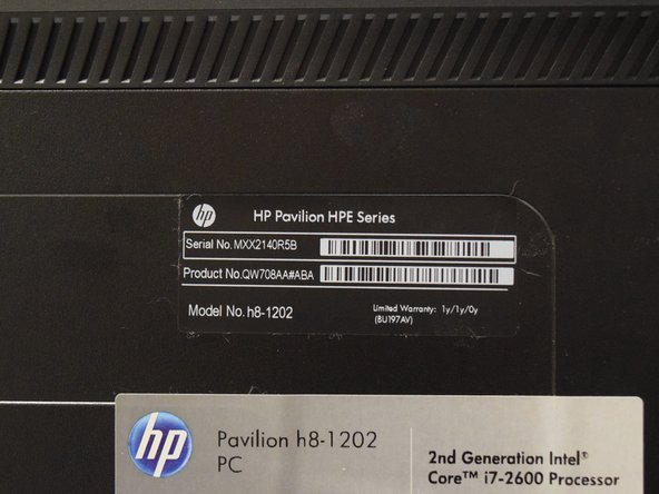 HP Pavilion Model H8-1202 RAM Replacement