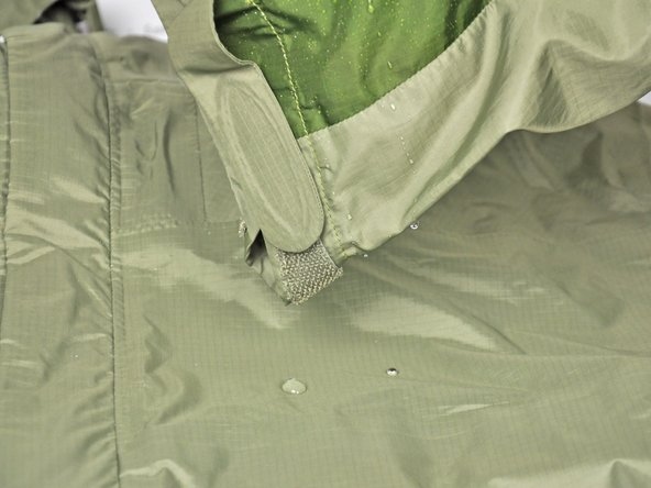 Water droplets should roll right off of the jacket when you pick it up.