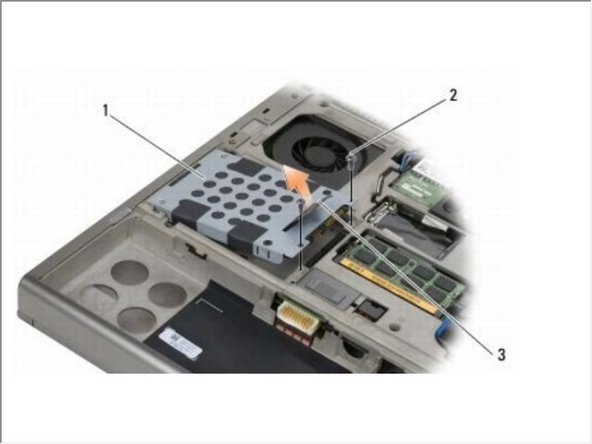 Remove the two M3 x 3-mm screws that secure the carrier to the HDD2.