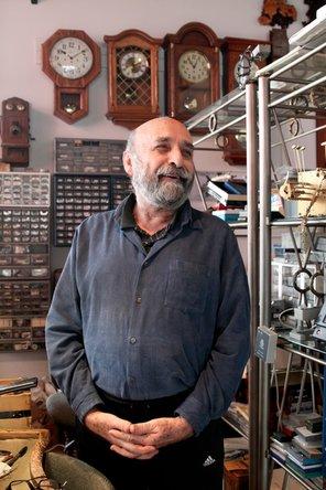 Watchmaker in his workshop in San Luis Obispo