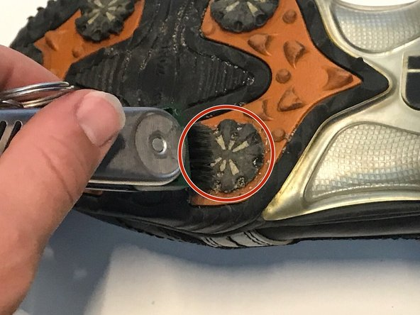 Take one of the golf shoes and place it so that the bottom of the shoe is facing upwards.