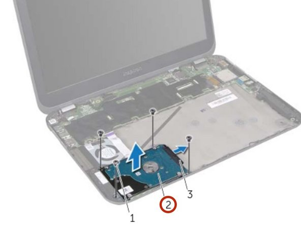 Disconnect the hard-drive cable connector from the hard-drive assembly.