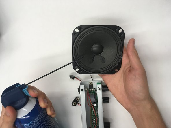 Spray the front and back of the subwoofer until clean of dust.