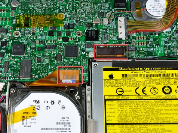 Disconnect the hard drive and optical drive connectors from the logic board.