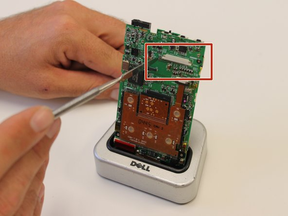 To replace, purchase a new screen and locate the small silver bar located on the motherboard.