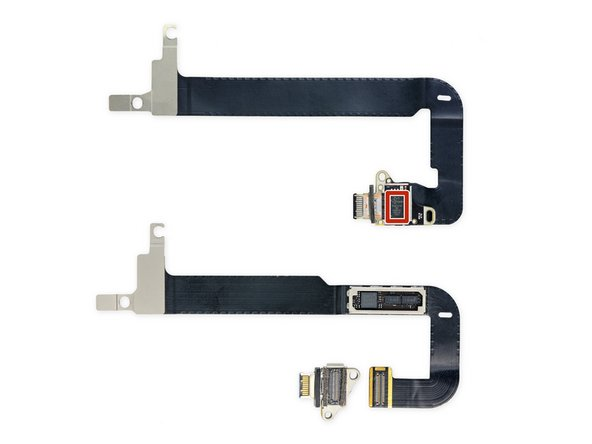 ...Also, the silicon is new and moved from the cable itself to the USB board. Here's a comparison of the new USB-C hardware (top) with that of the 2015 Retina MacBook (bottom).