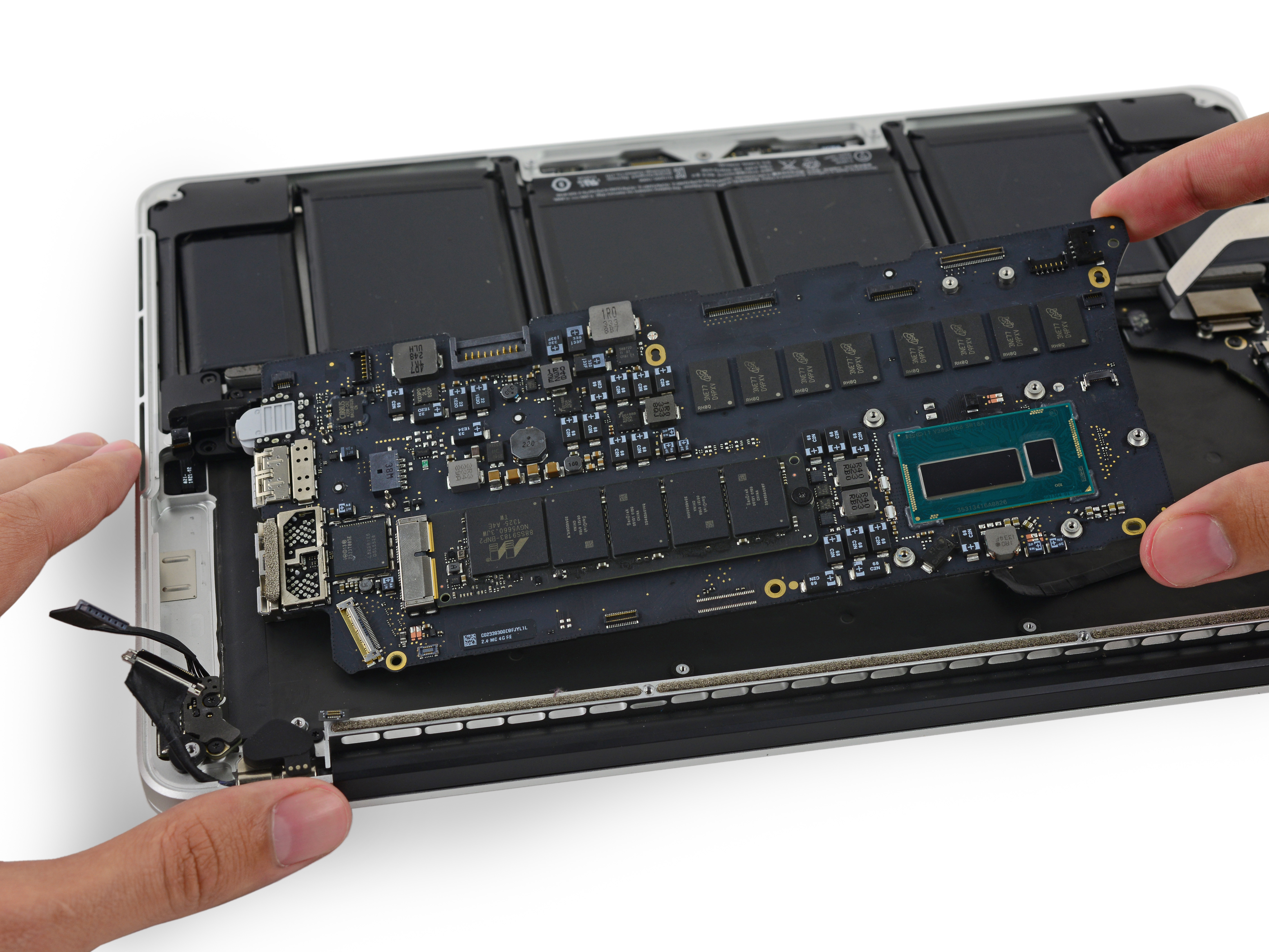 Macbook Pro 13 Retina Display Mid 2014 Logic Board Replacement Repair And Diagnostic Of Electronic Circuit Stock Photo Ifixit Guide