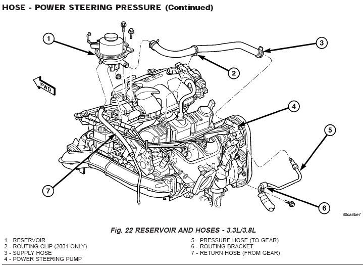 1999 dodge caravan power steering pump diagram