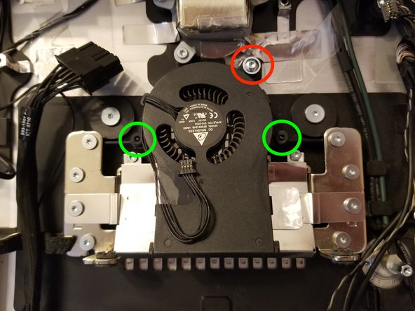 Remove the one T10 screw holding the HD Fan (circled in Red)