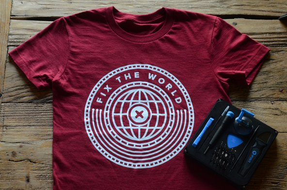 iFixit fix the world t-shirt and essential electronics tookit