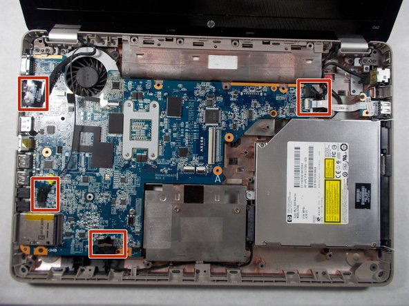 Remove the six connectors from the motherboard.